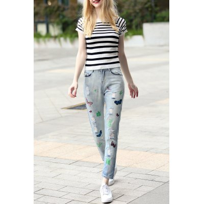 Striped Sheath T-Shirt and Embroidered Jeans Suit