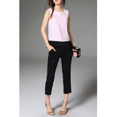 Bowknot Hit Color Tank Top and Pure Color Pants