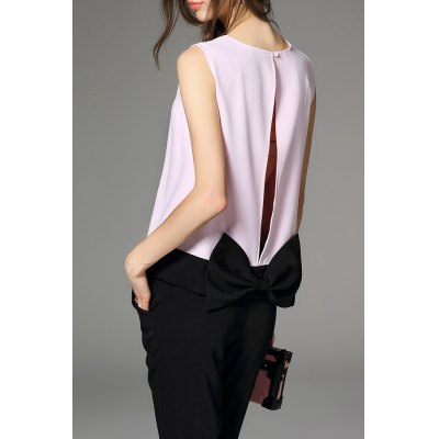 Bowknot Hit Color Tank Top and Solid Color Pants