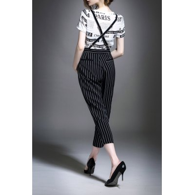 Letter Print T-Shirt and Striped Overalls Jumpsuit