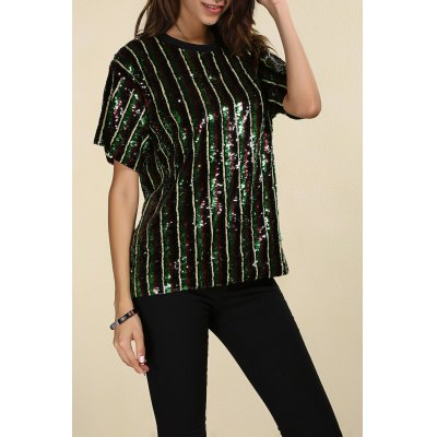 Short Sleeve Sparkly Sequins Stripe T-Shirt