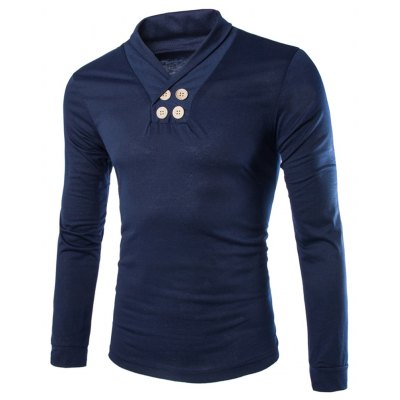 Trendy Slimming Turndown Collar Solid Color Button Design Long Sleeve Polyester T-Shirt For Men