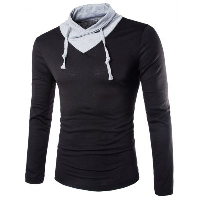 Stylish Slimming Turndown Collar Two Color Splicing Drawstring Long Sleeve Polyester T-Shirt For Men