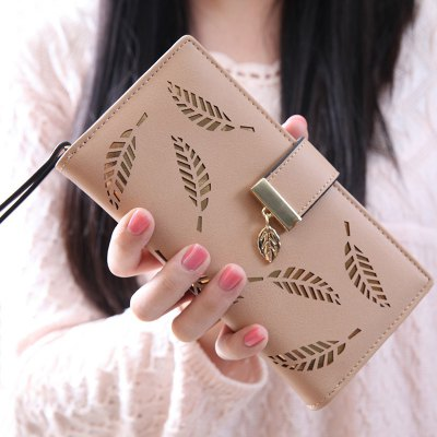 Stylish Leaves and Hollow Out Design Wallet For Women