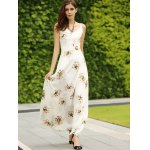 Trendy Spaghetti Straps Backless Floral Print Maxi Dress For Women for sale