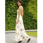 Trendy Spaghetti Straps Backless Floral Print Maxi Dress For Women deal