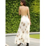 best Trendy Spaghetti Straps Backless Floral Print Maxi Dress For Women