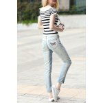 cheap Striped Sheath T-Shirt and Embroidered Jeans Suit