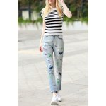 Striped Sheath T-Shirt and Embroidered Jeans Suit for sale