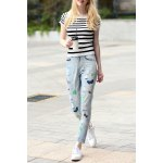 Striped Sheath T-Shirt and Embroidered Jeans Suit deal
