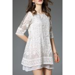 Rhinestoned Lace Embroidered Mini Dress deal