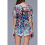 cheap Drawstring Waist Floral Print Blouse