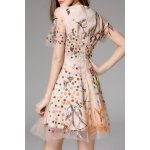 cheap Floral Embroidered Mesh A Line Dress