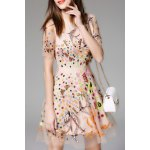 Floral Embroidered Mesh A Line Dress
