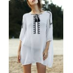 Stylish Round Neck 3/4 Sleeve Loose Floral Embroidered Women's Dress