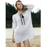 cheap Stylish Round Neck 3/4 Sleeve Loose Floral Embroidered Women's Dress