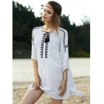 Stylish Round Neck 3/4 Sleeve Loose Floral Embroidered Women's Dress deal