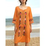 Ethnic Style 3/4 Sleeve Scoop Neck Floral Embroidery Dress For Women