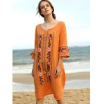 Ethnic Style 3/4 Sleeve Scoop Neck Floral Embroidery Dress For Women deal