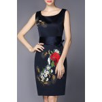 Sleeveless Embroidered Belted Dresss
