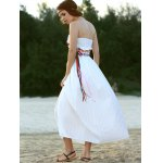 best Ethnic Style Strapless Floral Embroidery Maxi Dress For Women
