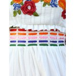 Ethnic Style Strapless Floral Embroidery Maxi Dress For Women photo