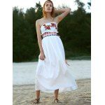 Ethnic Style Strapless Floral Embroidery Maxi Dress For Women deal