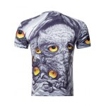 cheap Casual Owl Printing Round Collar Short Sleeve T-Shirt For Men