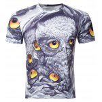 Casual Owl Printing Round Collar Short Sleeve T-Shirt For Men