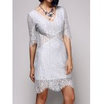 Alluring Deep V Neck Women's Bodycon Lace Dress photo