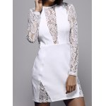 Stylish Round Neck Long Sleeve White Lace Spliced Women's Dress for sale