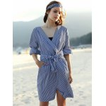 Stylish V Neck Long Sleeve Striped Belted Women's Dress deal
