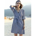 Stylish V Neck Long Sleeve Striped Belted Women's Dress for sale