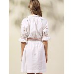 best Stylish Shirt Collar Half Sleeve Ethnic Style Embroidery Women's Dress