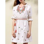 Stylish Shirt Collar Half Sleeve Ethnic Style Embroidery Women's Dress deal