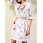 Stylish Shirt Collar Half Sleeve Ethnic Style Embroidery Women's Dress for sale