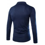 cheap Trendy Slimming Turndown Collar Solid Color Button Design Long Sleeve Polyester T-Shirt For Men