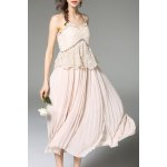 Cami Solid Color Lace Spliced Dress