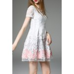 Lace Panel Short Flare Dress deal