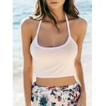 Trendy Halter Sleeveless Color Block Slimming Crop Top For Women