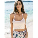 cheap Trendy Halter Sleeveless Color Block Slimming Crop Top For Women