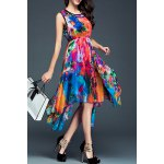 Sleeveless Print Irregular Hem Dress deal