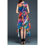 cheap Sleeveless Print Irregular Hem Dress