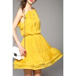 Cami Flounce Ruffle Solid Color Dress deal