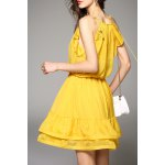 cheap Cami Flounce Ruffle Solid Color Dress