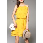 Cami Flounce Ruffle Solid Color Dress