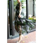 Round Neck Voile Spliced Print Maxi Dress deal