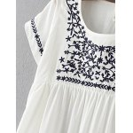 Stylish Scoop Neck Short Sleeve Floral Embroidery Women's Dress deal