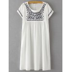 Stylish Scoop Neck Short Sleeve Floral Embroidery Women's Dress