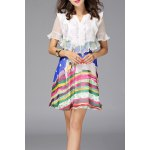 Ruffled Design Colorful Dress